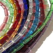 100 Pcs 4x10mm Tube Mixed Glass Beads - KB0186