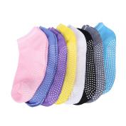 8 Pairs Women Lady Girls Yoga Socks Non Slip Dance Barre Pilates Massage Sport Fitness Ankle Socks Grip Exercise Gym Anti-slip Socks With Rubber Dots (HCT11)