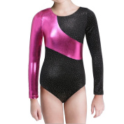 Long Sleeve Gymnastics Leotards for Girls Sparkly Dance Practise Costume