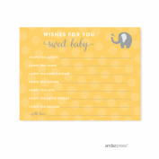 Wishes For Baby Yellow Gender Neutral Elephant Baby Shower Games, 20-Pack