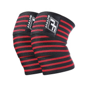 RitFit Knee Wraps (pair) - Great for Squats, Powerlifting, Olympic Lifting and CrossFit - Compression & Elastic Support - Bonus Carry Case