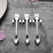 Xshuai 1 Piece Cute Cat Spoon Long Handle Spoons Stainless Steel Upscale Dinnerware Flatware Coffee Teaspoon Drinking Tools Kitchen Gadget Party Supplies