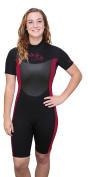 U.S. Divers Women's Shorty Wetsuit - Black/Maroon - Medium/Large