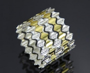 Gold and silver hollow napkin ring between the silver wave banquet 12pcs , silver gold