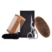 Beard Grooming Kit for Men, Sandalwood Beard Comb, Boar Bristle Beard Brush and Hair Scissors, With Convenient Small Travel Gift Bag