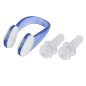 Swimming Water Sport Swim Protection Earplugs Nose Clip Set Clear Blue w Case