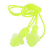 Unique BargainsWater Swimming Sleeping Silicone Ear Plugs w Stretchy String Light Green 60cm