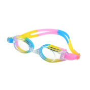 Colourful Silicone Stretchy Strap Swimming Glasses Swim Goggles w Spectacle Case