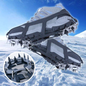 Shoe Claws Crampons, IClover 18 Teeth Non-slip Ice Snow Climbing Anti-slip Traction Cleats Shoe Covers Spike Cleats Crampons M(36-40) Ice Grippe Field For Outdoor Hiking Climbing Wet Grass Mud Snow
