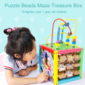 Samber Wooden Activity Cube Toy Learning Activity Centre Educational Toy Kids Learning Educational Toy Preschool Toys Birthday Gift for Baby Child Children Kids Toddlers