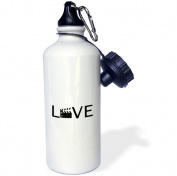 3dRose Love with movie clapper for O - filming buff film making - black text, Sports Water Bottle, 620ml