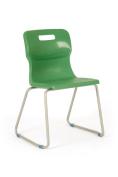Titan Skid Classroom Chair, Plastic, Age 9-13 Years, Green