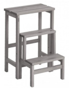 Valsecchi Su and Giu 3 Steps Ladder Stool, Beech wood, Grey, 30 x 30 x 30 cm