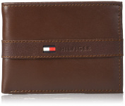Tommy Hilfiger Men's Leather Ranger Passcase Billfold Wallet, Cognac