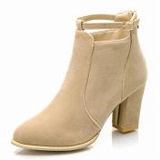 Fashion Leisure Women Buckle Ladies Belt Faux Warm BootsHigh Heels Martin Shoes Ankle Boots