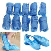 100Pcs Blue Plastic Disposable Overshoes Carpet Protector Shoes Cover