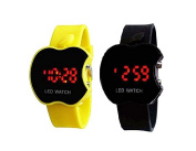 Buycrafty Yellow and Black Combo Apple Shape Kids Digital LED Wrist Watch Gift