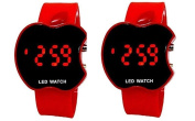 Buycrafty Red and Red Combo Apple Shape Kids Digital LED Wrist Watch Gift for Boys