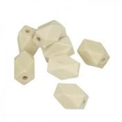 8 polygonal wood beads 15 x 11 mm