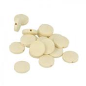 17 flat round wood beads 15 x 3 mm