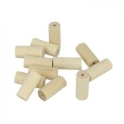40 wood beads cylinders 25 x 8 mm