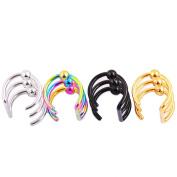 4PCS Piercing Women Girls Men Stainless Steel Non-piercing Fake Lip Nose Ring Clip-on Cartilage Septum Earring Hoop