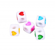 200 Pcs 7mm Acrylic Mixed Colour Cube Heart Printed Beads DIY Craft Jewellery Making Spacer Beads