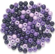 Glorex Wood Bead 118ST Mix, Wooden, Purple, 110 x 8.6 x 0.5 mm