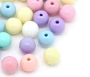 The Bead and Button Box - 100 Acrylic Pastel Coloured Beads 8mm. Great for jewellery making, decoration, beading, and other crafts.