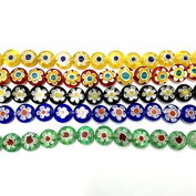 Ecloud Shop® 5 Strand Murano Millefiori Glass Lampwork Button Beads FASHION