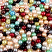 Ecloud Shop® 500 Beautiful Mixed Colour Round glass beads fashion imitation pearls 6mm