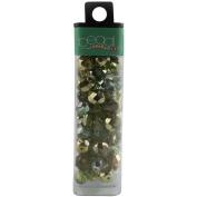 Square Tube Glass Bead Mix 60ml/Pkg-Green/Mirror Mix
