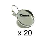 Cabochon Leverback earrings Silver 20 mm