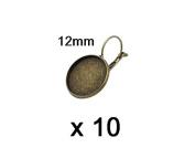 10 x 12 mm Cabochon Leverback earrings Bronze
