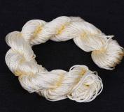 Bigood Braided Nylon Thread Chinese Knotting Cord Macrame Knotted 1mm 27m Cream-coloured