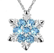 Haodou Silver Alloy Clavicle Necklace Set Imitation Sapphire Crystal Snowflake Jewellery Necklace Crystal Pendant Jewellery
