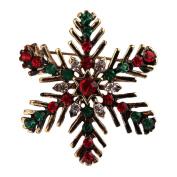 Dosige Colourful Snowflake Wedding Brooch Pin Crystal Shawl Scarf Buckle Clips