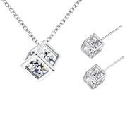 Cdet Women Necklace Earrings Cute Box Diamond Pendant Necklace Girl Choker Collar Chain Necklace Jewellery Set Love Gift