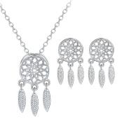 Cdet Women Necklace Earrings Dreamcatcher Pendant Necklace Girl Choker Collar Chain Necklace Jewellery Set Love Gift