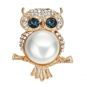 Cdet 1X Brooch Women Corsage Brooch Rhinestone Owl Pearl Brooch Wedding Bridal Pin Dress Scarves Shawl Clip Lady Jewellery Beautiful Charm Decorations