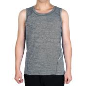 Men Polyester Sleeveless T-shirt Vest Exercise Sports Tank Top Grey L