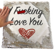 I F**king Love You Rude Funny Magic Cushion Cover - Silver Sequin