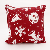 Adam Linens 100% Cotton Printed Christmas Festive Design Cushion Cover Jingle Bell Red