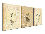 Birds Canvas Prints Wall Art Pictures Abstract Flowers Paintings Artworks for Living Room Bedroom Office Decoration, 30cm x 30cm , Framed