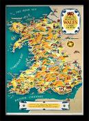 "National Railway Museum ""Wales Vintage Map"" Framed Print, Multi-Colour, 30 x 40 cm"