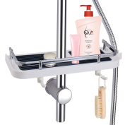 LEF Bathroom Shelf Organiser Rack, Shower Caddy with Hooks Detachable Holder for Soap Shampoo Conditioner, NO Drilling Wall Mounted – Suit for 24mm and 25mm Rail