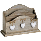 Shabby Chic Hearts Wooden Letter Rack