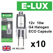 10 x G4 12v 10w Clear Halogen Capsule Bulbs Lamps