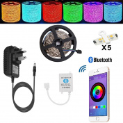 Led Lights Strip TENLION Led Strip Bluetooth Fairy Light Smartphone App Controlled Work with Android and IOS System,5m 5050 150LEDs RGB Led Light with 12V 3A Power Supply