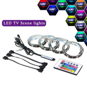 LED TV Backlight Bias Lighting, 2M USB LED Light Strip with Remote Controller for 40 To 150cm HDTV,PC Monitor